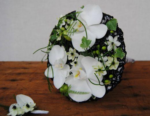 Ramo de Novia y prendido en blanco y negro Mayula flores Zaragoza