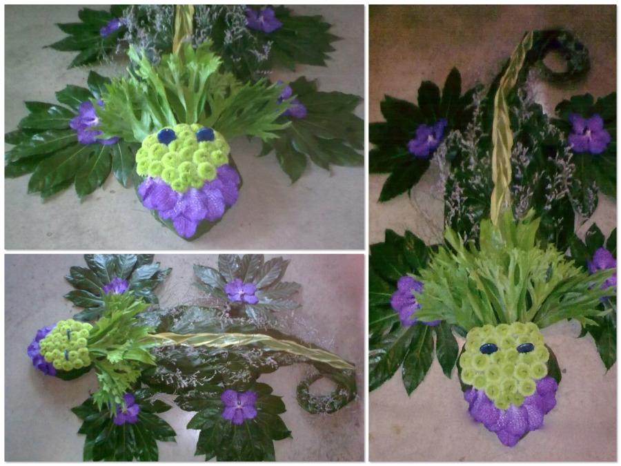 trabajos mortuorios salamandra con flores Mayula flores