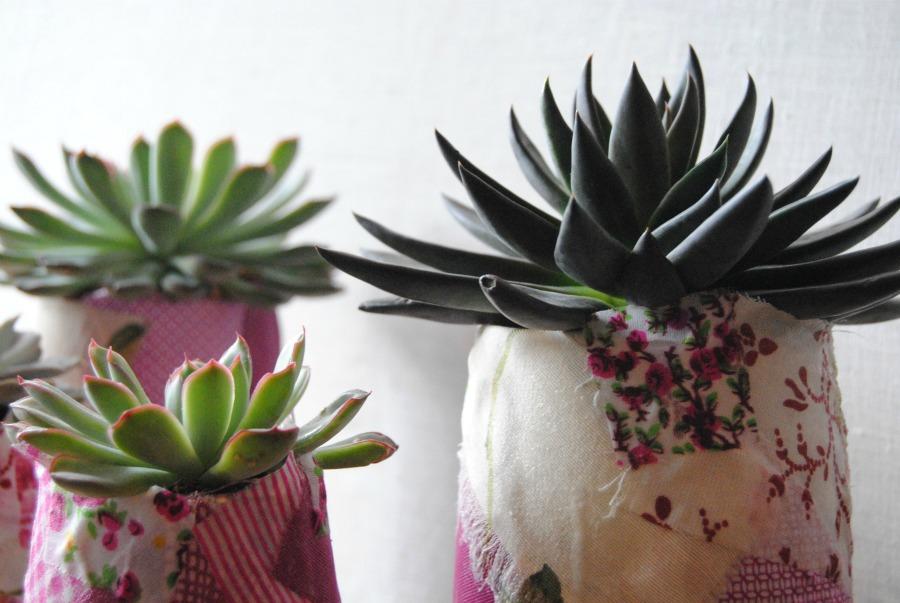 Plantas crasas con jarrones de patchwork en tonos rosas Mayula flores Zaragoza