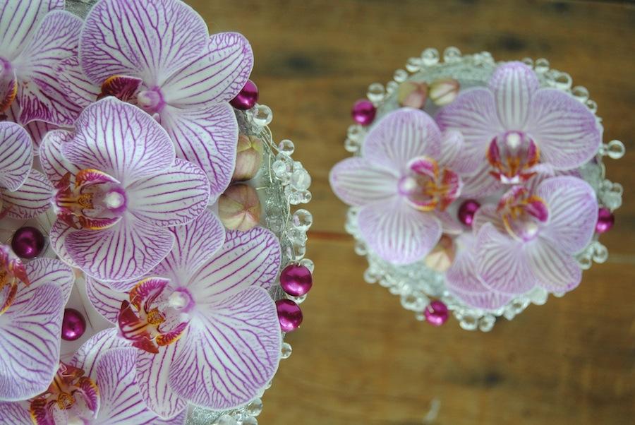 Ramo de novia de orquideas rosas