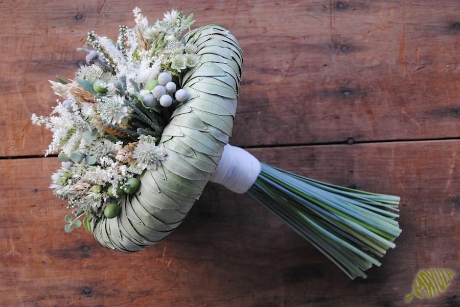 Ramo de novia con trigo y olivo