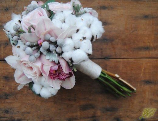 ramo de novia flor algodon