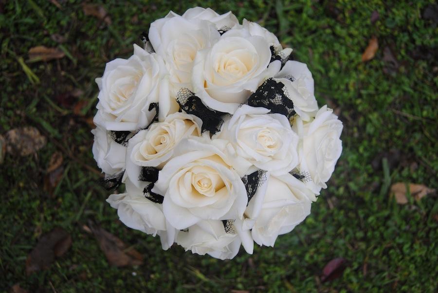 ramo novia blanco y negro