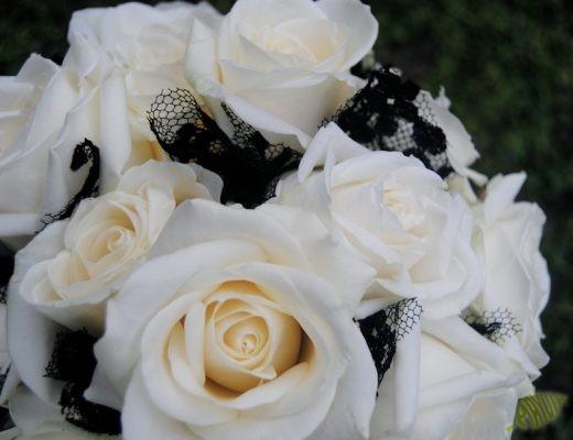 ramo de novia en blanco y negro