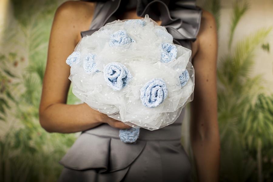 ramo novia tul flores azules