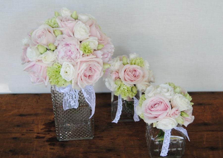 ramo de novia y replicas en miniatura del ramo