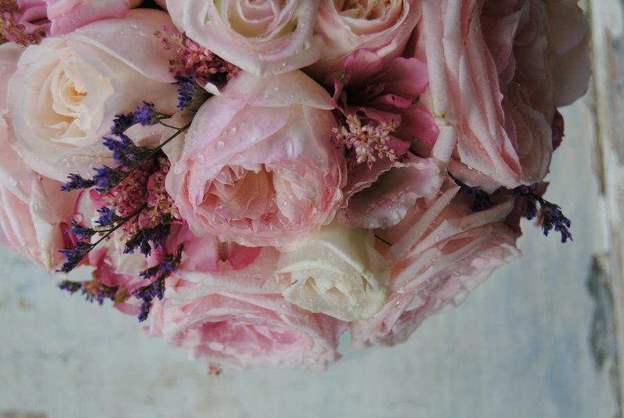 Ramo novia rosas jardin en rosa