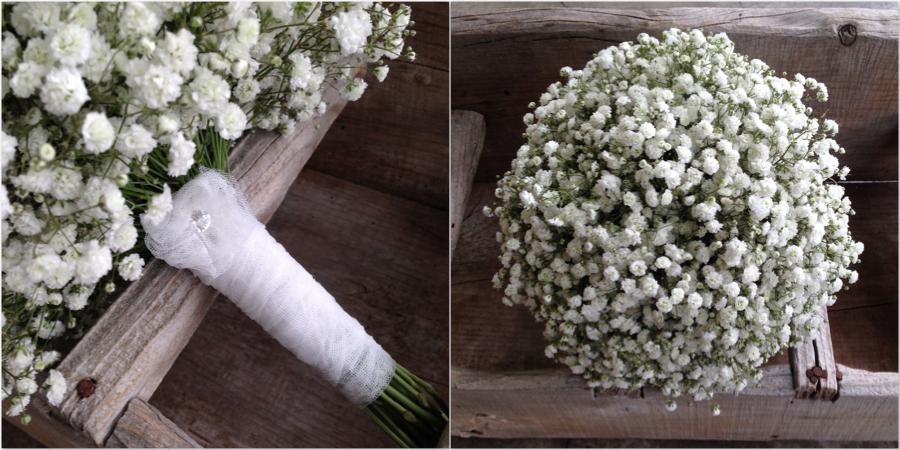 ramo de novia muy económico con paniculata blanca. Bodas low cost