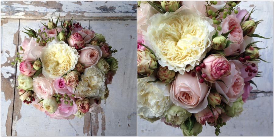 bouquet de novia con rosas David Austin en diferentes tonos