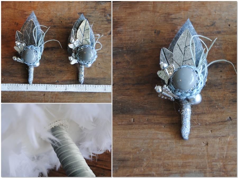 Prendidos de ramo de novia de botones y broches