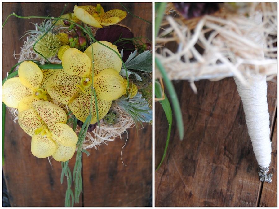 Ramo de novia en amarillo con orquídeas vanda