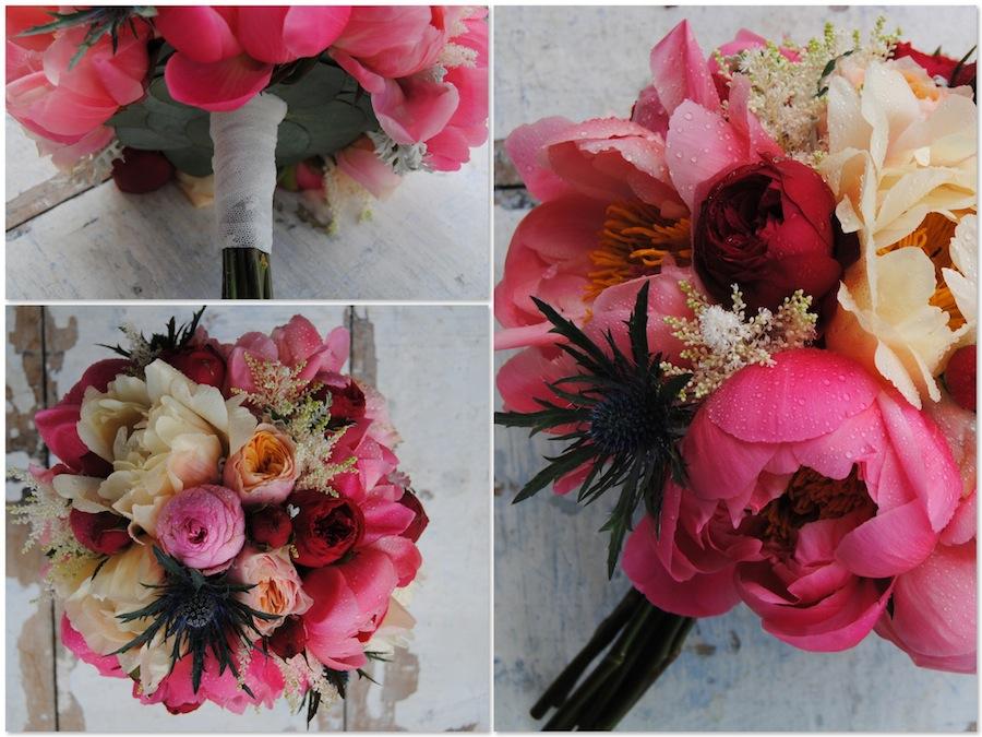ramo de novia con peonias y rosas rojas en tono coral