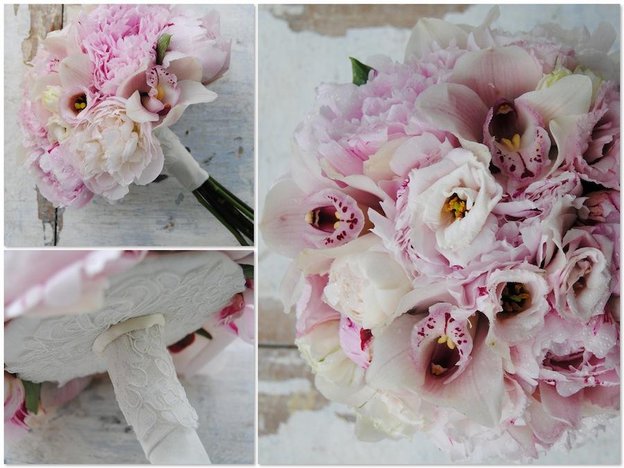 ramo de novia con peonias rosas y orquídeas r.Ramo vintage