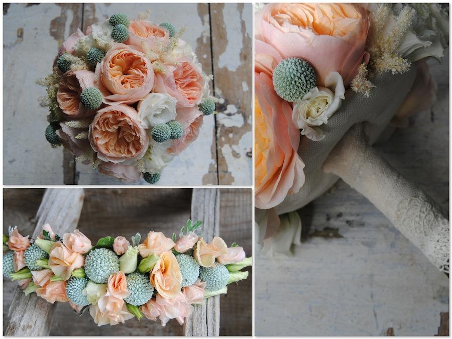 ramo de novia melocotón con rosas David Austin Juliet