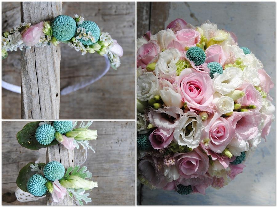 ramo de novia blanco y rosa dulce y romántico