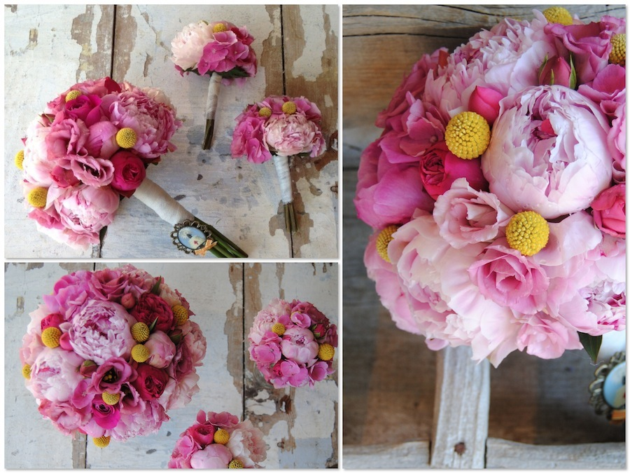 Ramo de novia en fucsia, rosa y amarillo con peonias, hortensia y craspedias.