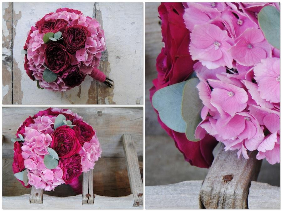 Ramo de novia en fucsia y rosa con rosas David Audtin darcey y horetensias.