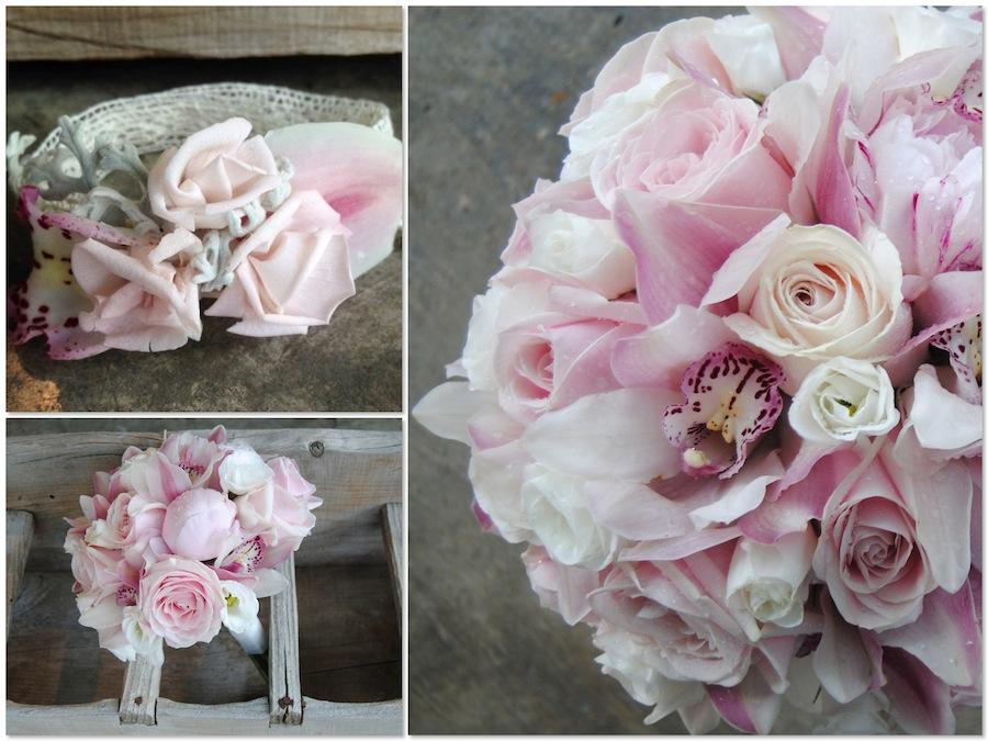 ramo de novia con peonias, rosas y orquídeas romántico. Corsages y pulseras florales a juego.