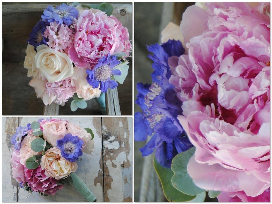 Ramo de novia con scabiosa , peonias y rosas vendela, una combinación muy dulce de colores para una novia romántica.
