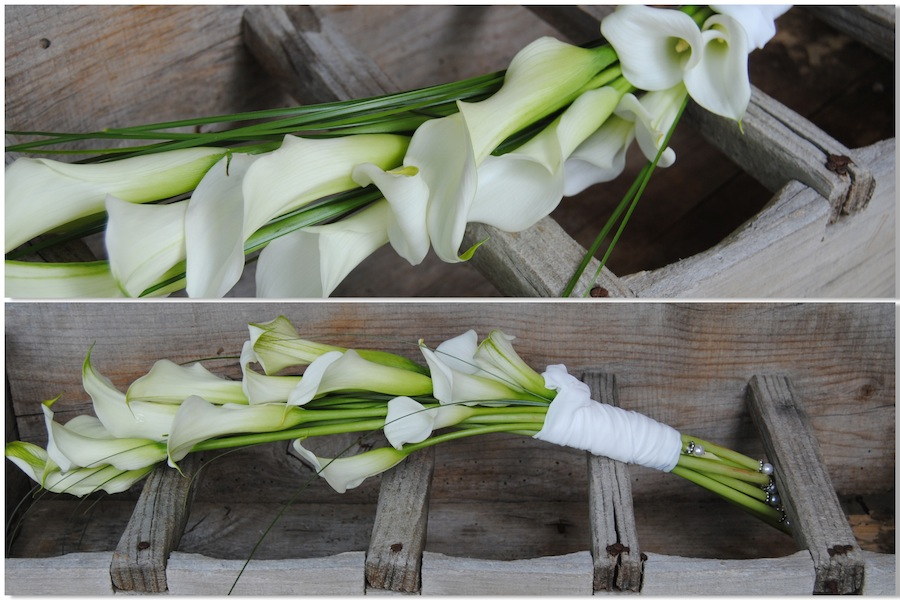 ramo de novia tipo garba de calas blancas. Mayula flores