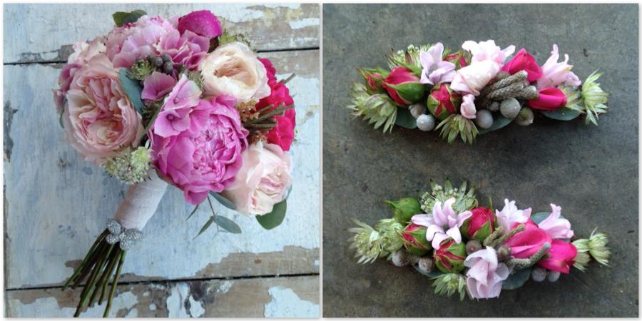 Ramo de novia romántico con peonias. rosas David Austin y hortensias con un detalle de fantasía en forma de mariposa