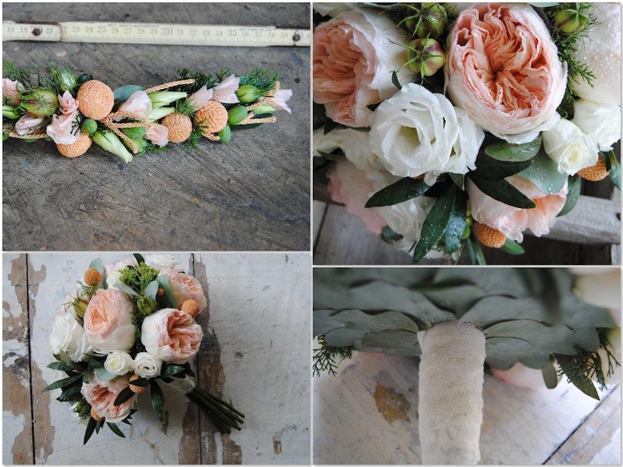 bouquet de novia con rosas inglesas David Austin Juliet , olivo y verdes de complemento.