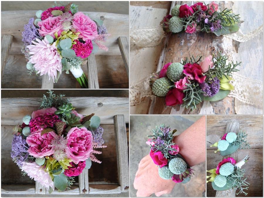 Ramo de novia con un colorido atrevido pero suave con rosas David Austin y crespedias
