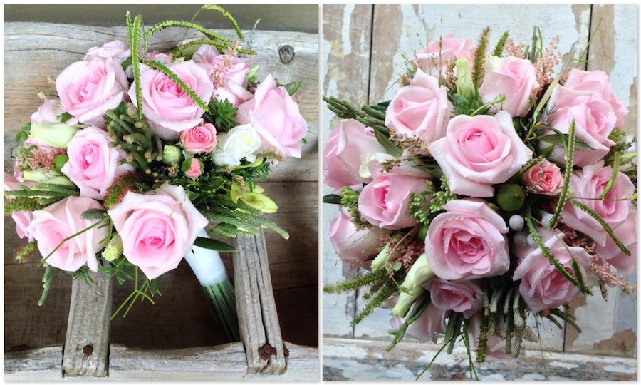 ramo de novia silvestre con un efecto muy natural con rosas rosas, gramíneas y verdes de complemento