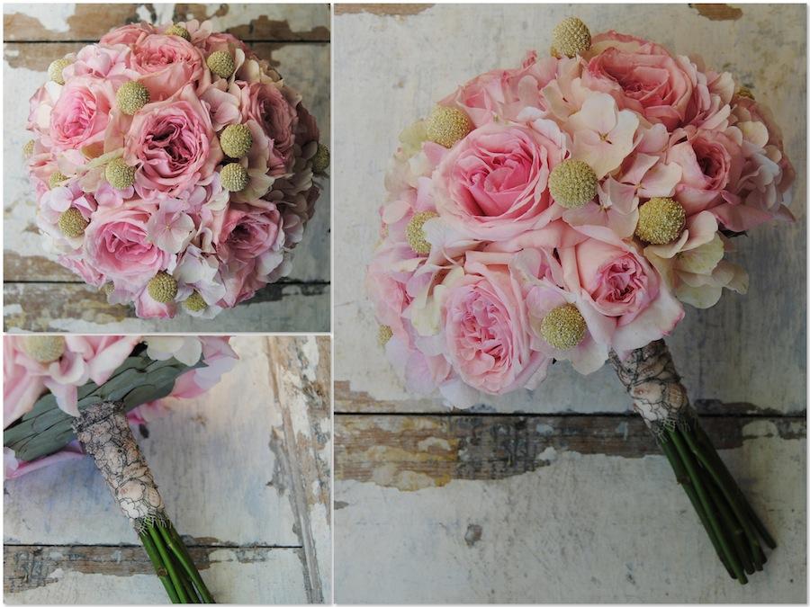 Ramo de novia con rosas de jardín y hortensias