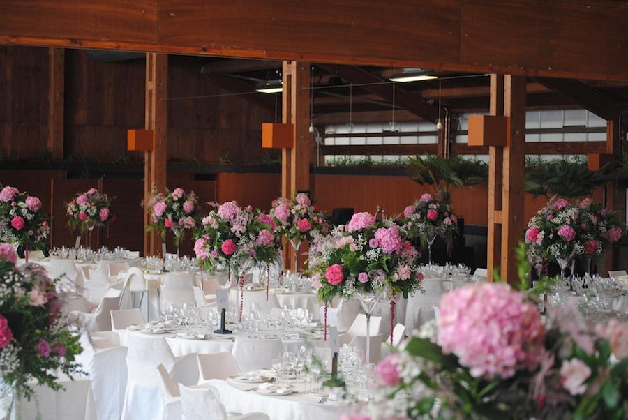 Decoraciçon de boda en salón invernadero de Finca Sansui